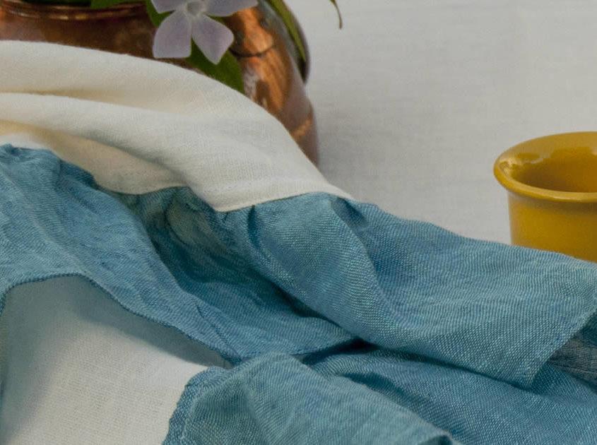 vendita tovaglie country on line lino con volant turchese